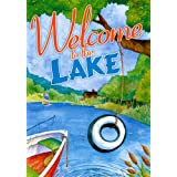 Welcome to the Lake Summer Garden Flag Canoe Sailboat Outdoors Wildlife 12
