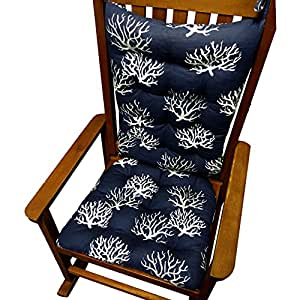 Rocking Chair Cushions Coastal Coral Navy