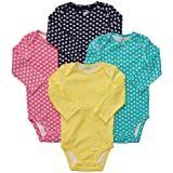 Carters Baby Girls 4-Pack L/S Bodysuits - Mini Print - 9 Months