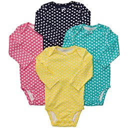 Carter\'s 4-Pack L/S Bodysuits - Mini Print- 3 Months