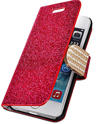 Mylife Bright Red {Glitter Passion And Buckle Design} Faux Leather (Card, Cash And Id Holder + Magnetic Closing) Slim Wallet For The Iphone 5C Smartphone By Apple (External Textured Synthetic Leather With Magnetic Clip + Internal Secure Snap In Hard Rubbe