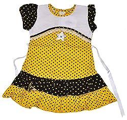 Be BeBo Girl's cotton Regular Fit Dress (554, Yellow, 2-3yrs)
