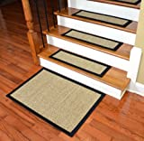 Dean Attachable Non-Skid Sisal Carpet Stair Treads - Desert/Black (Set of 13) Plus a 2' x 3' Mat