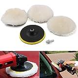 etopmia Polishing Buffer Wool and Wheel Polishing Pad Woolen Polishing Waxing Pads Kits with M14 Drill Adapter(5 Pcs 6 Inch)
