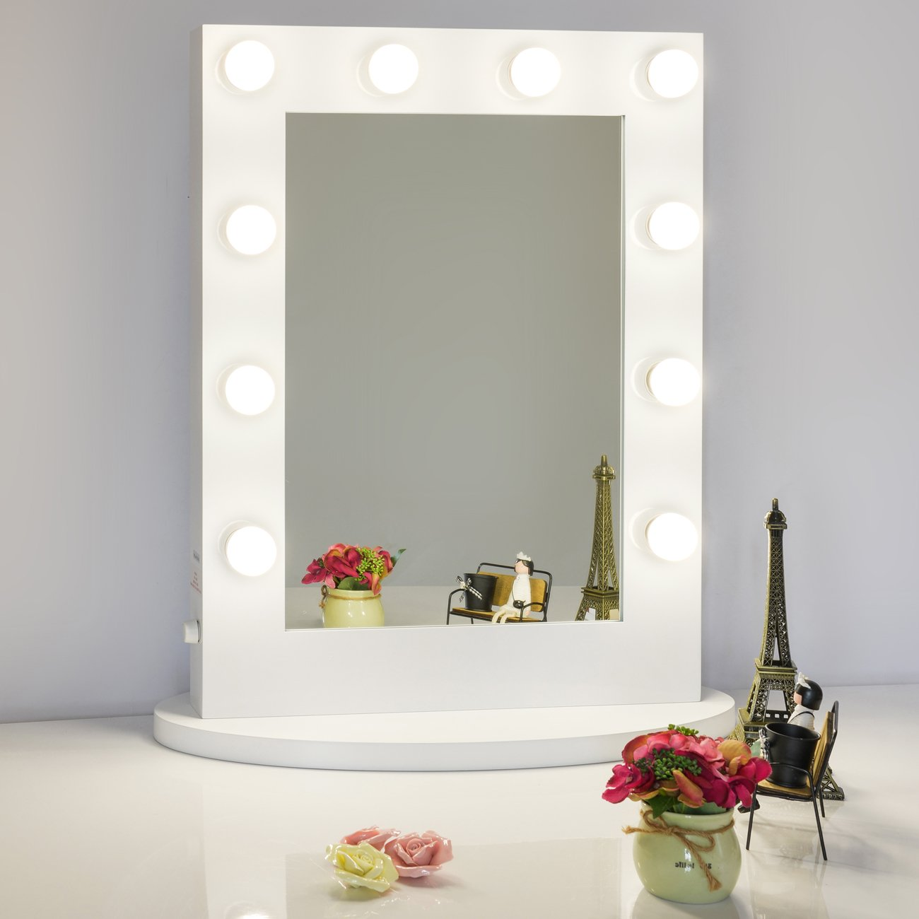 Chende White Hollywood Tabletops Lighted Makeup Mirror Vanity With Dimmer Ebay