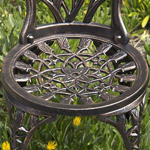 Best Choice Products Outdoor Patio Furniture Tulip Design Cast Aluminum Bistro Set in Antique Copper 4