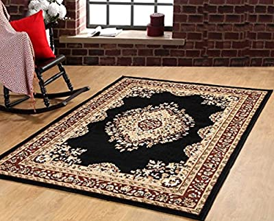 Traditional Oriental Medallion Area Rug Persian Style Carpet Black Maharaja 611 furnishmyplace