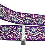 Indian Velvet Fabric Trim Floral Craft Ribbon 76 Cm Wide Sari Border By The Yard