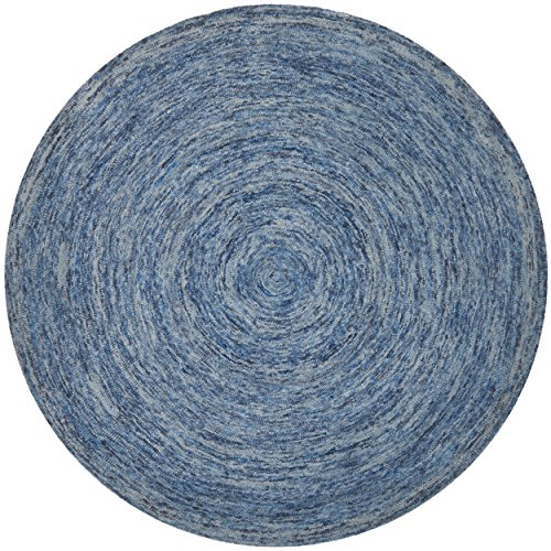 Safavieh Ikat Collection IKT633A Handmade Dark Blue and Multi Wool Round Area Rug, 8 feet in Diameter (8' Diameter)
