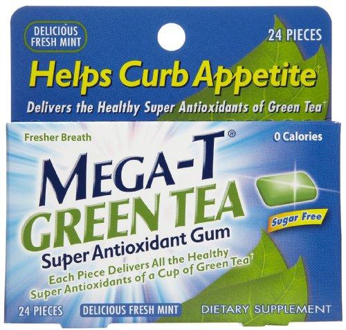 Mega-T Chewing Gum, Green Tea, Sugar Free, 24 Ct.