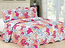 FT Home Fashion Girl\'s Hot Pink Cute Heart Print 100-Percent Cotton Queen Size Coverlet Set, 3 Pieces