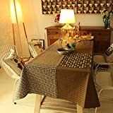 Ustide Brown Plaid Tablecloths Irregular Dot Print Table Covers Square Tablecloth Multi-Purpose Dining/Kitchen/Coffee Table Overlays Fashion Tablecloths