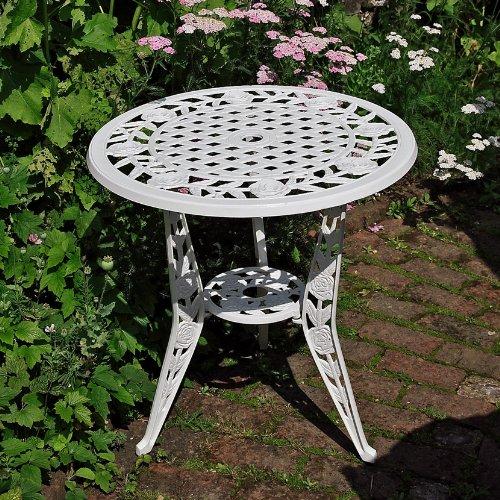 Weiße Rose 63cm rundes Tischset - 1 ROSE Tisch + 2 Weiße MAY Stuhle