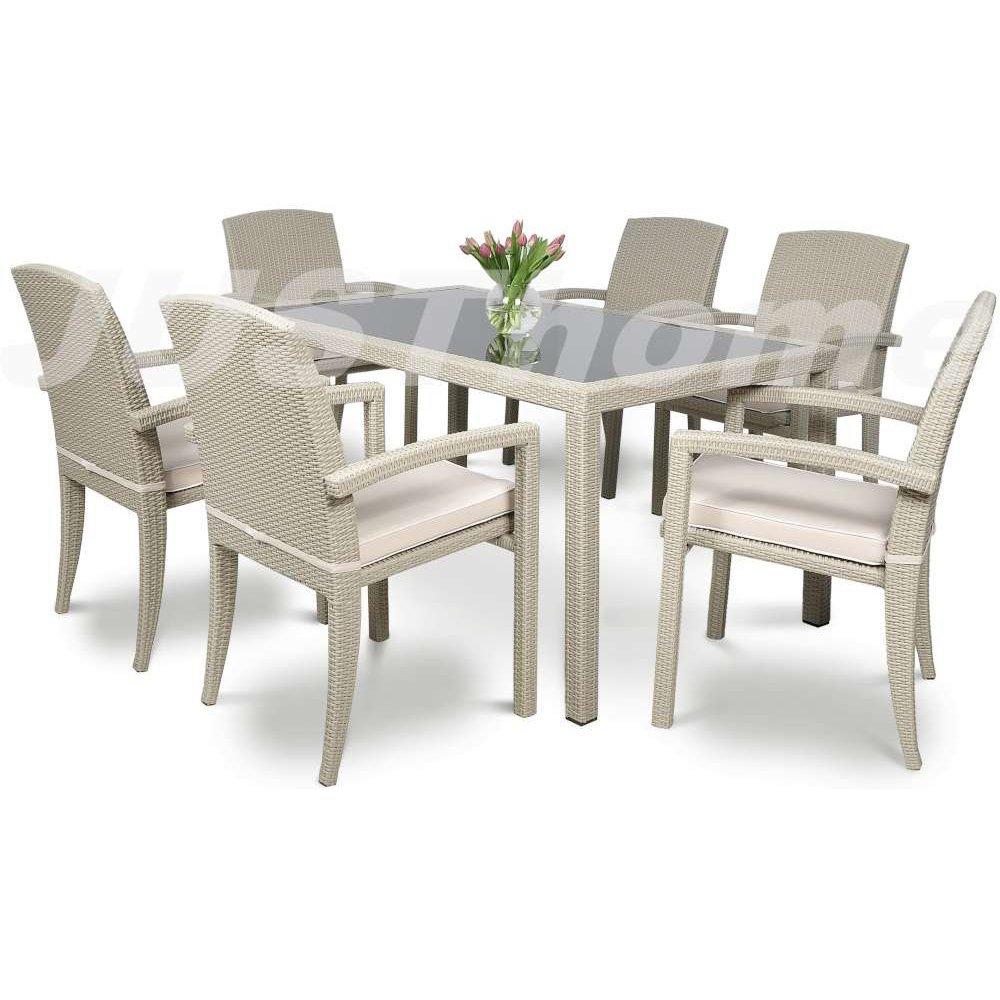 JUSThome Gartenmöbel Sitzgruppe Gartengarnitur Parma / Torino 6x Stuhl + Glastisch Farbe: Grau kaufen