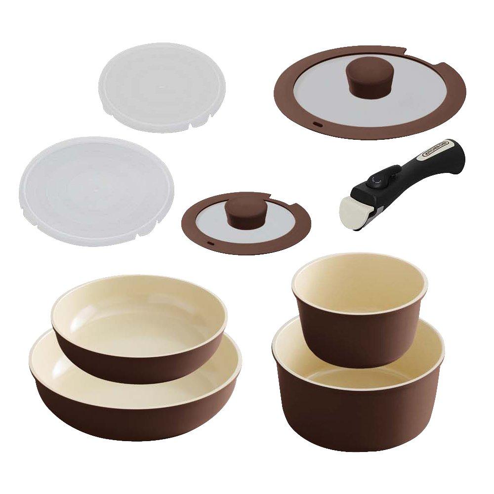 アイリスオーヤマ セラミックカラーパン 9点セット ブラウン H-CC-SE9