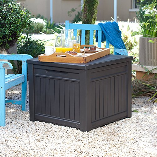 Keter Pacific 30 Gal Outdoor Resin Wicker Waste Basket