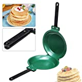 7.5 Inch Non stick Ceramic Pan SENREAL Double Side Pancake Maker Green Frying Pan for Cakes Pancake Toast Egg