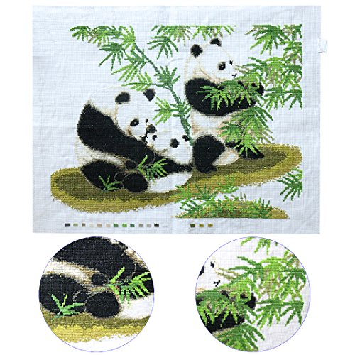 Ancerson Chinese Style Cute Happiess Black Panda Family Green Bamboo Handmade Workmanship Embroidery Cross-Stitch
