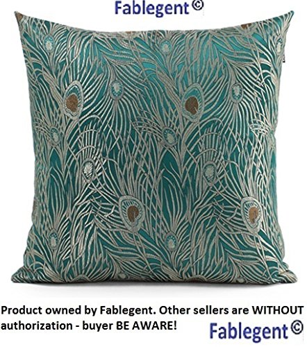 "Sapphire Blue 18""X18"" Peacock Design - Elegant Decorative Throw Pillow Cover front-639941"