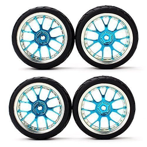 RC 1:10 Flat Racing Car Grid Grain Tires With Blue Y shape Hub Wheel Rim Pack Of 4