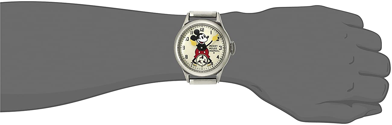 Ingersoll Mickey Mouse Men's IND 25832 Ingersoll Disney Mickey 30s Mechanical Analog Display Mechanical Hand Wind Black Watch 1