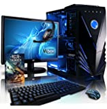 """VIBOX Sharp Shooter Package 6 - 3.7GHz Quad Core Intel i5, Extreme, Online, Gamer, Multimedia, Desktop Gaming PC, Computer with WarThunder Game Bundle, Full Package with 22"""" Monitor, Headset, Gamer's Keyboard & Mouse and Neon Blue Internal Lighting Kit PLUS a Lifetime Warranty Included* (3.3Ghz (3.7GHz Turbo) Intel, i5 4590 Quad Core Haswell Processor, 1GB nVidia Geforce GTX 750 Graphics Card, 1TB HDD Hard Drive, 8GB 1600MHz RAM, No Operating System)"""