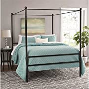 "Moder Design Queen Size Canopy Bed Made of Metal in Black Finish 83.5""L x 62.5""W x 75""H in."