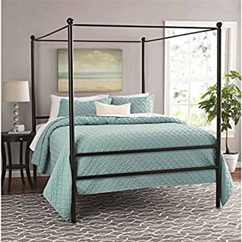 """Moder Design Queen Size Canopy Bed Made of Metal in Black Finish 83.5""""L x 62.5""""W x 75""""H in."""