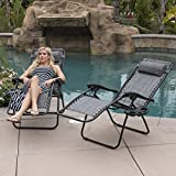 Bellezza© 2-Pack Zero Gravity Chairs Patio Lounge +Cup Holder/Utility Tray (Gray)