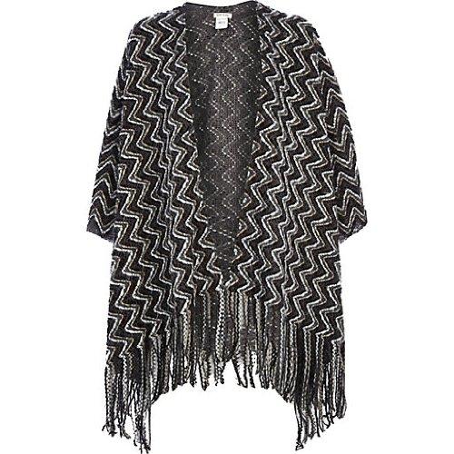River Island Grey Zig Zag Tassel Trim Cape