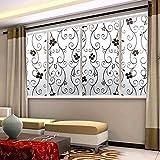 45 x 100cm 曇らないプライバシーカバーガラス窓ドア黒い花ステッカーフィルム接着剤ホームインテリア