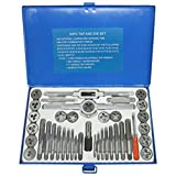 NORTOOLS Alloy Steels Tap and Die Set SAE Inch Sizes Essential Threading Home Tool Cutting Threads Gauge Kit with Storage Case for Occasional Use 24/40-Piece (Color: Set_2, Tamaño: onesize)