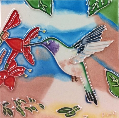 Continental Art Center SD-070 4 by 4-Inch Hummingbird No.6 Ceramic Art Tile