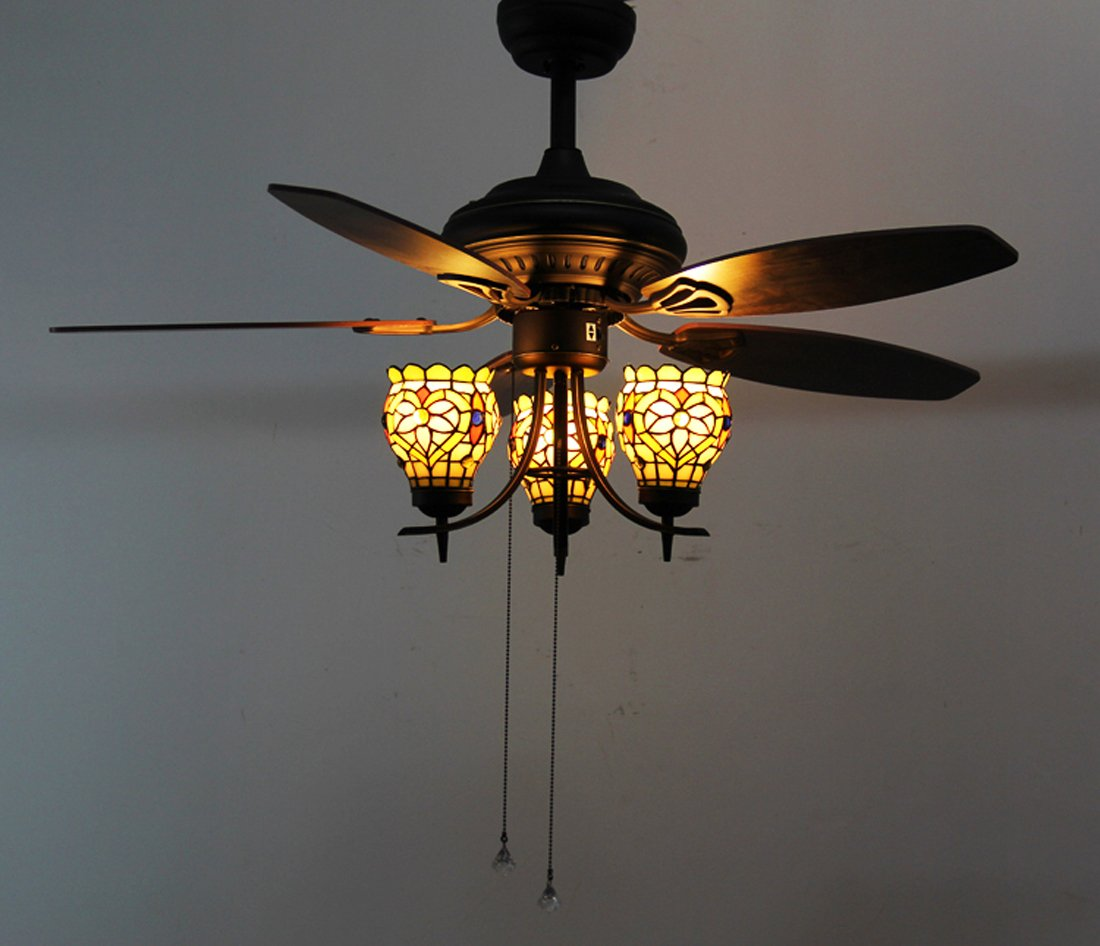 Makenier Vintage Tiffany Style Stained Glass 3-light Flowers Uplight 5-blade Ceiling Fan Light Kit 4