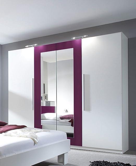 Dreams4Home Kleiderschrank 'Fiete' - Kleiderschrank, Schrank, 2 Spiegelturen, 2 Holzturen, B/H/T: 228 x 214 x 58 cm, Spiegelschrank, Schlafzimmerschrank, Schlafzimmer, 1 Kleiderstange, 5 Einlegeböden, in weiß / lila