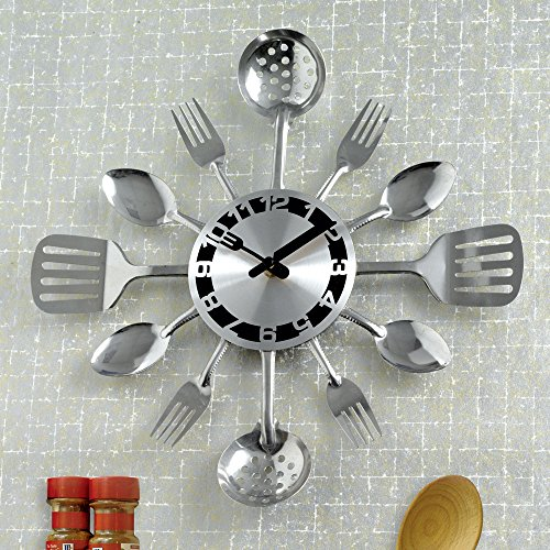 Bits and Pieces - Contemporary Kitchen Utensil Clock-Silver-Toned Forks, Spoons, Spatulas Wall Clock - Kitchen Décor, Unique Fun Gift (Kitchen Wall Spoon And Fork compare prices)