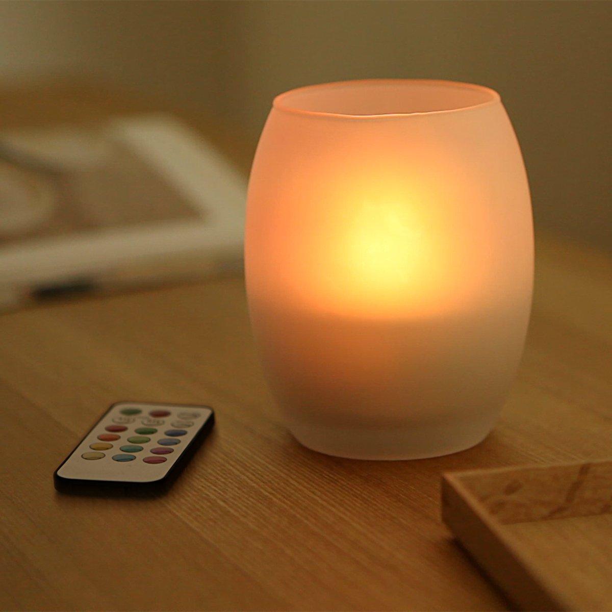 【WY】リモコン付き 12色LEDキャンドル 12種類の色を切替て点灯できるLED使用 様々な雰囲気を作り出せるインテリアアイテム つや消しガラス製キャンドルグラス (タマゴ型) 自動消灯タイマー 照明モード