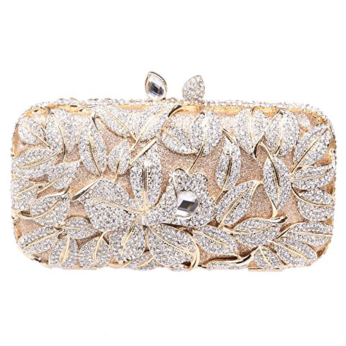 Fawziya Bling Lily Purses Women Hard Case Rhinestone Crystal Clutch Bag-Gold