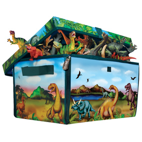 ZipBin Dinosaur Toy Box bursting with dinos!