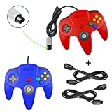 Koalud 2 Packs Classic Retro Wired Gamepad Controllers with 2 x 6ft Extension Cables For Nintendo 64 Nintendo64 N64 console(Red and Blue)
