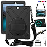 Galaxy Tab S2 9.7 Case, dropproof High Impact Resistant Heavy Duty Armor Cover W/Hand Strap Handle Shoulder Belt Carry case for Samsung SM-T810/SM-T813/SM-T815 T810 9.7 inch Tablet(Black) (Color: Black, Tamaño: Galaxy Tab S2 9.7 (T810/T813/T815))