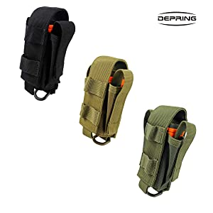 Depring Tool Holster Sheath Universal Multi Pockets Tool Organizer Heavy Duty Construction MOLLE Pouch (Tan) (Color: Tan)