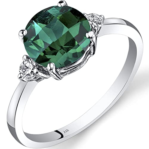 Revoni 14ct White Gold Created Emerald Diamond Ring 1.75 Carat Round Cut