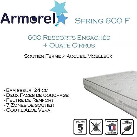Armorel MAS6F80/220 Spring 600 Ferme Matelas  Blanc 220 x 80 cm