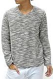 (マルカワジーンズパワージーンズバリュー) Marukawa JEANS POWER JEANS VALUE カットソー Tシャツ メンズ 長袖 無地 Vネック スラブ 4color M チャコール