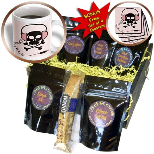 Cgb_38996_1 Florene Childrens Art - Black Skull With Pink Headphones - Coffee Gift Baskets - Coffee Gift Basket
