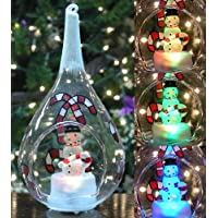 Snowman and Candy Canes Christmas Ornament Glass Globe Teardrop Shape Light Up LED Color Changing Lights Hand Painted Glittery Snow