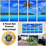 Canvas Prints - Beach Island Scenery Print on Canvas - Framed and Ready to Hang - 100% Quality Cotton Canvas - Modern Home and Office Wall Decor - Seascape Canvas Designs - 5 Panel Print - Wall Art