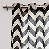 """Best Home Fashion Flax Linen Blend Textured Chevron Print Curtains - Stainless Steel Nickel Grommet Top - Black - 52""""W x 96""""L - (Set of 2 Panels)"""
