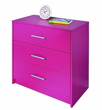 Links 20901850 Kommode pink Schlafzimmerkommode Schlafzimmer Holzkommode 3 Schubladen massiv